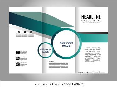 Style Tri-Fold Brochure Design. Corporate Leaflet, Cover Template