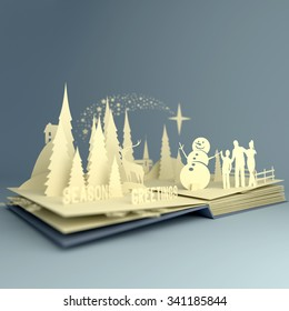 Styled pop-up book with a christmas theme. 3D Illustration.