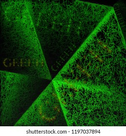 Stylised green grass illustration. Painted effect with the word GREEN embedded