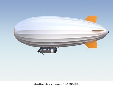 Stylish airship flying in the blue sky