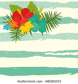 stylish background with exotic flowers and stripes in the background. branches of palm trees and bright rich colors