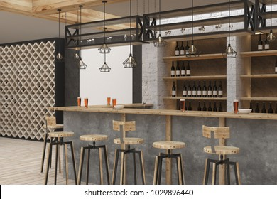 Stylish bar or pub interior. Design and lifestyle concept. 3D Rendering