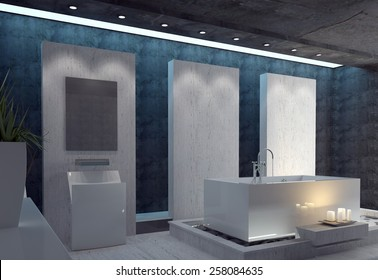 Stylish bathroom with a modern white rectangular suite, a black ceiling and dark accent walls lit by a cluster of romantic glowing candles. 3d Rendering.