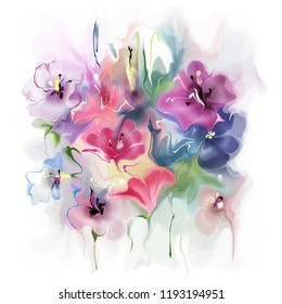 Stylish beautiful composition of abstract flowers