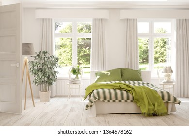 Stylish bedroom in white color. Scandinavian interior design. 3D illustration