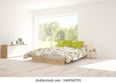 Stylish bedroom in white color with smmer landscape in window. Scandinavian interior design. 3D illustration