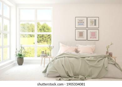 Elegante habitación de color blanco con paisaje veraniego en la ventana. Diseño interior escandinavo. ilustración 3D