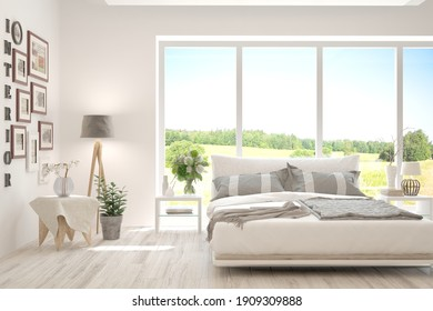 Stylish bedroom in white color with summer landscape in window. Scandinavian interior design. 3D illustration