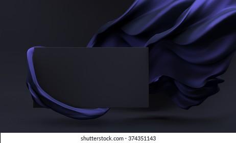 Stylish black background with blue flying fabric and dark plane