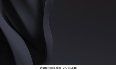 Stylish black background with silk waves