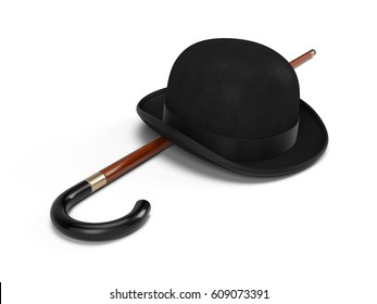 Stylish Black bowler hat and walking stick on a white background - 3d render
