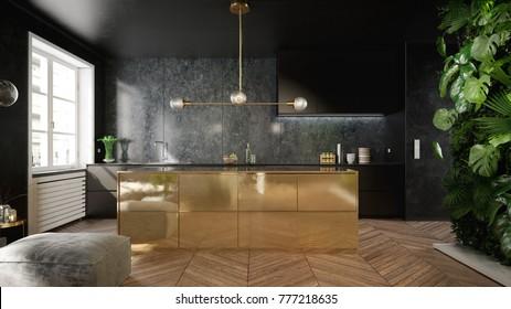 Elegante interior de cocina en negro y dorado - 3 d de rendimiento