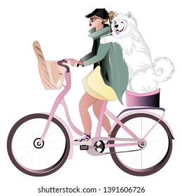 Stylish blonde girl rides a bike with her dog breed Samoyed