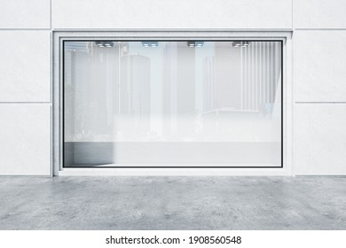 Stylish boutique with blank glass showcase and backlight lamps. Advertisement and retail concept. Mock up, 3D Rendering