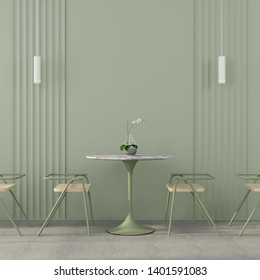 Stylish cafe interior in green with wooden chairs, marble table top, white chandeliers and concrete floor / 3D illustration, 3d render