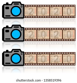 Stylish calendar for 2020 Camera with 35mm film