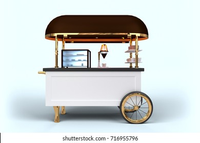 Stylish Coffee Cart 3D rendering