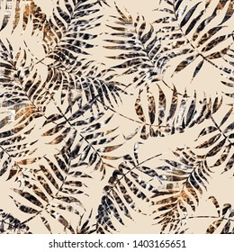 Stylish Colorful Tropical Palm Leaves Background and Pattern for textile Dress