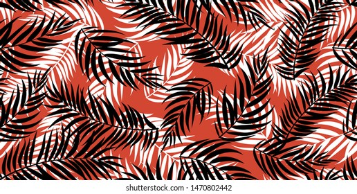 Stylish Colorful Tropical Palm Leaves Background and Pattern for Dress.Textile Digital Printing Pattern