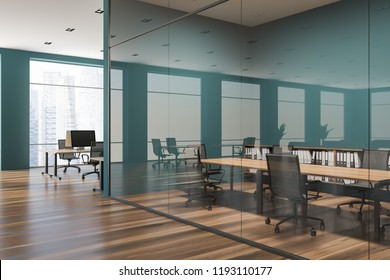 Stylish conference room interior with green and glass walls, wooden table and metal chairs. Open space office in the background. 3d rendering copy space