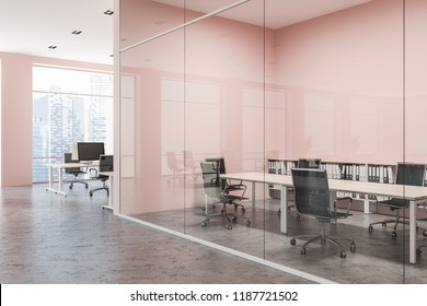 Stylish conference room interior with pink and glass walls, wooden table and metal chairs. Open space office in the background. 3d rendering copy space