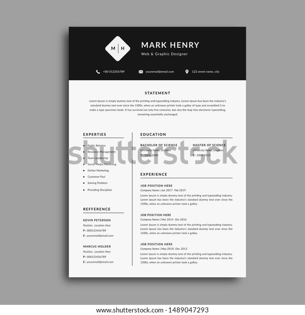 Stylish Cv Resume Template Sample Black Stock Illustration 1489047293