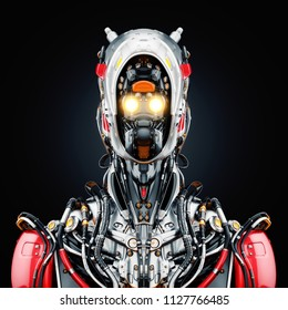 Stylish cyborg bust in front 3d illustration