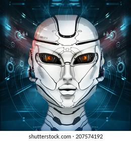 Stylish cyborg head in front of virtual background with digital interface