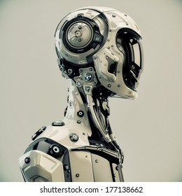 Stylish cyborg man / Serious futuristic robot in profile. 3d render