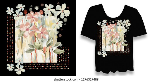 Stylish, designer print on a t-shirt. Abstract, floral arrangement with graphic elements and grunge. Creative, original, watercolor illustration. Fashionable youth clothing. Print, cover.