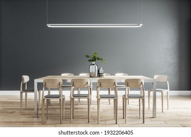 Stylish dining room interior design with modern wooden table and chairs, floor and black wall behind. 3D rendering