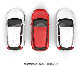 Stylish eco friendly modern cars - red stands out in the middle - top down view - 3D Render