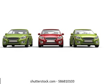 Stylish eco friendly modern cars - red and green - front view - 3D Render