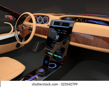 Stylish electric car interior with luxury wood pattern decoration. User can update software just touch few button in console screen. Original design.