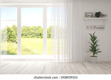 Stilvolles leeres Zimmer in weißer Farbe mit Sommerlandschaft im Fenster. Skandinavisches Innendesign. 3D-Illustration