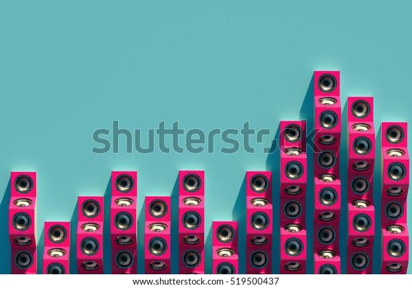 Stilvolles Equalizer der Musiklidner in der isometrischen Ansicht. 3D-Design mit langem Schatten. 3D-Illustration