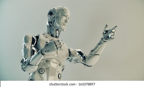 Stylish futuristic cyborg gestures with its strong muscular arms / Robot gestures