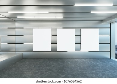 Stylish futuristic garage interior with empty poster and illuminated walls. Design concept. Mock up, 3D Rendering