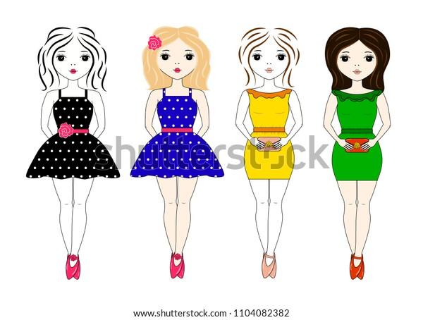 Stylish girl in different dresses and images