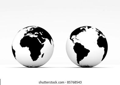 Stylish Globe on white background
