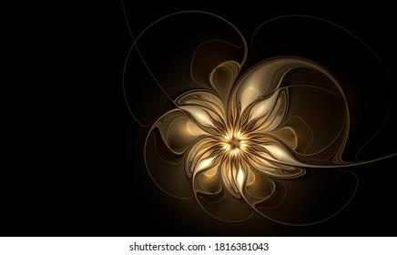 Stylish golden fractal flower on black background. Copy space