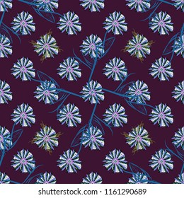 Stylish graphic design. Seamless abstract floral pattern. Geometric flower ornament. Brown, blue and violet background.