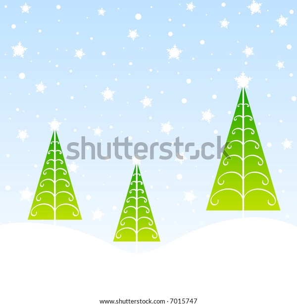 Stylish green christmas trees and snow flakes