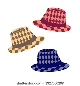 Stylish hat icon. Fedora hats various color selection. Fashionable tweed felt headwear cartoon. Sun protection clothing in summertime. Popular casual trilby fedoras comfortable wearing illustration