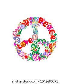 Stylish hippie peace flower symbol with abstract flowers, feathers, hearts, butterfly and love and peace word