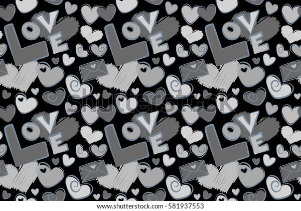Stylish hipster texture on a black background. Raster seamless pattern. Simple repeating texture with chaotic hearts, love letter and text in gray colors.