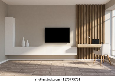 Stylish home office in beige and wooden wall living room with a compact computer table, white chair and a tv set on the wall. 3d rendering copy space