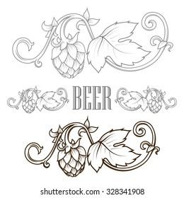 Stylish hop branch hand drawn raster illustration