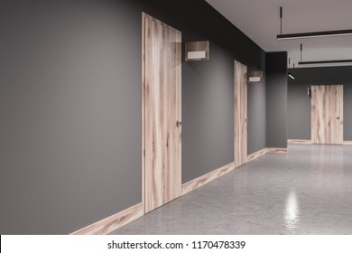 office hallway. Stylish Hotel Or Business Center Interior With Gray Walls, A Concrete Floor  And Rows Of Office Hallway ,
