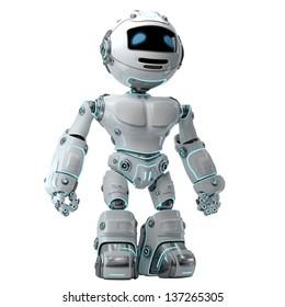 Stylish illuminated robotic toy on white / Cool brave robot